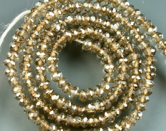 1/2 Strand of Light Brown Mystic Quartz Faceted Rondelles 3mm Beads