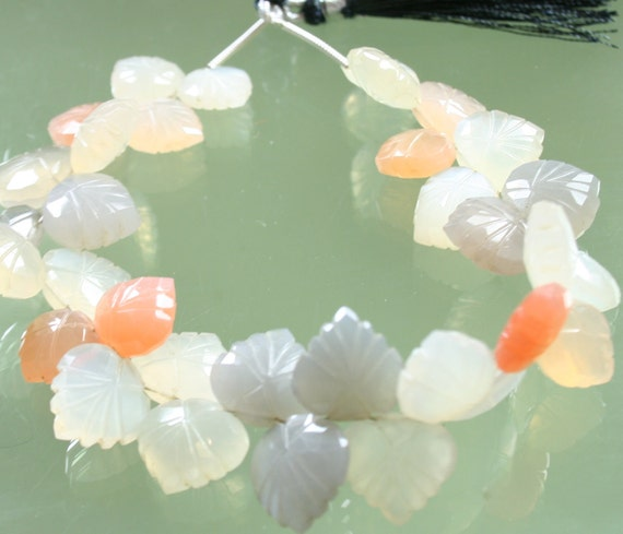 AA Multi Moonstone Carved Leaves Briolettes