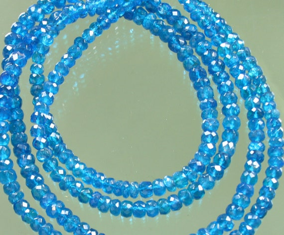 AA Blue Apatite Faceted Rondelles