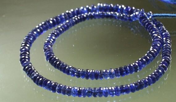 AAA Blue Kyanite Faceted Rondelles 4mm - 6mm