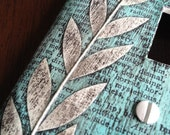 Lightswitch cover -  Leaves on turquoise