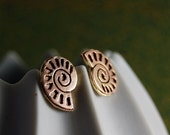 Beautiful Fossil - Delicate Rosegold Ammonite Handmade Stud Earrings