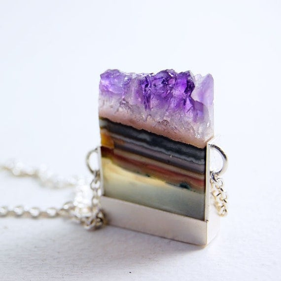 Slices - Amethyst Slice and Sterling Silver Necklace - OOAK