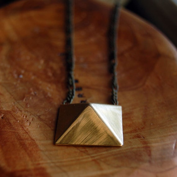 Pyramid Necklace - Geometric Brushed and Antique Brass