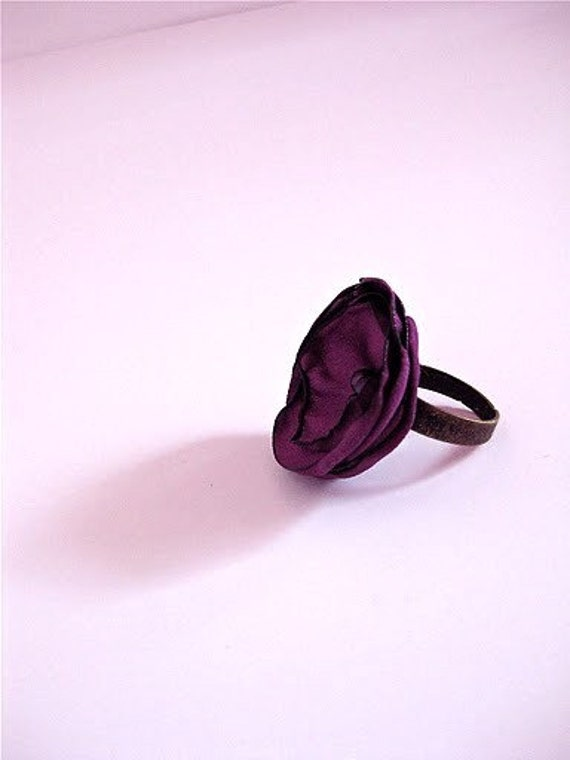 SALE Ring- Poetry Silk Flower on Antiqued Band
