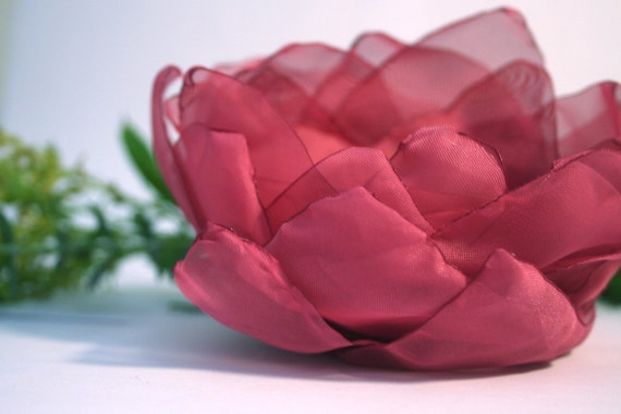 Large Organza Floral Bridal Fascinator - Raspberry and Gold