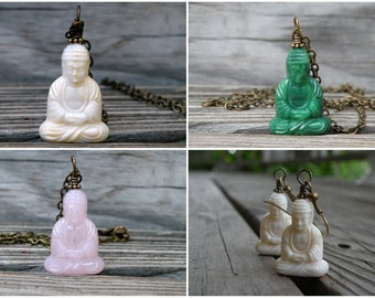 Buddha Necklace, Buddha, Jade, Vintage Brass, Simple Necklace