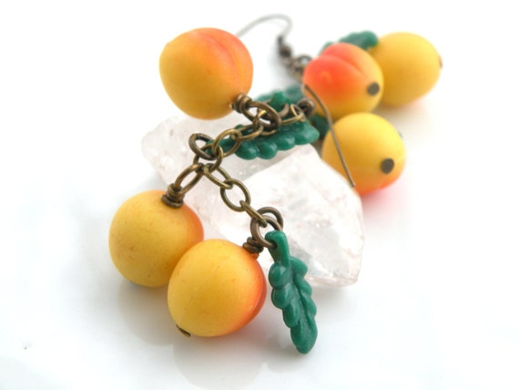 Peach Earrings, Fruit Jewelry, Summer Peach, Vintage