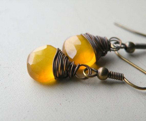 Yellow Gemstone Earrings, Yellow Chalcedony, Simple Gemstone Earrings, Vintage Brass