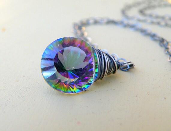 Mystic Topaz, Oxidized Sterling Silver,Twilight, Gemstone Necklace