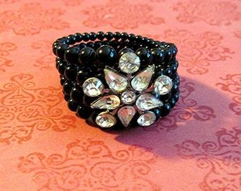 Vintage Black Bead Bracelet