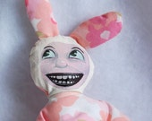 Pink Stuffed Bunny Person -- Vintage Floral Fabric Rabbit Doll