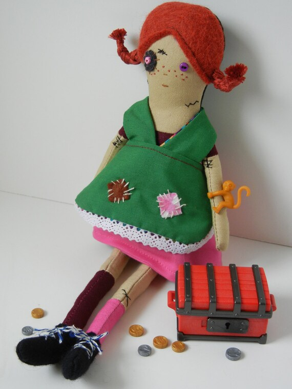 SALE - Zombie Pippi Longstocking Art Doll