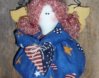 Primitive Folkart Americana Garden Angel Doll Cinnamon-Apple Scented Potpourri Filled Dress Flag USA Patriotic Wall hanging ofg hafair faap