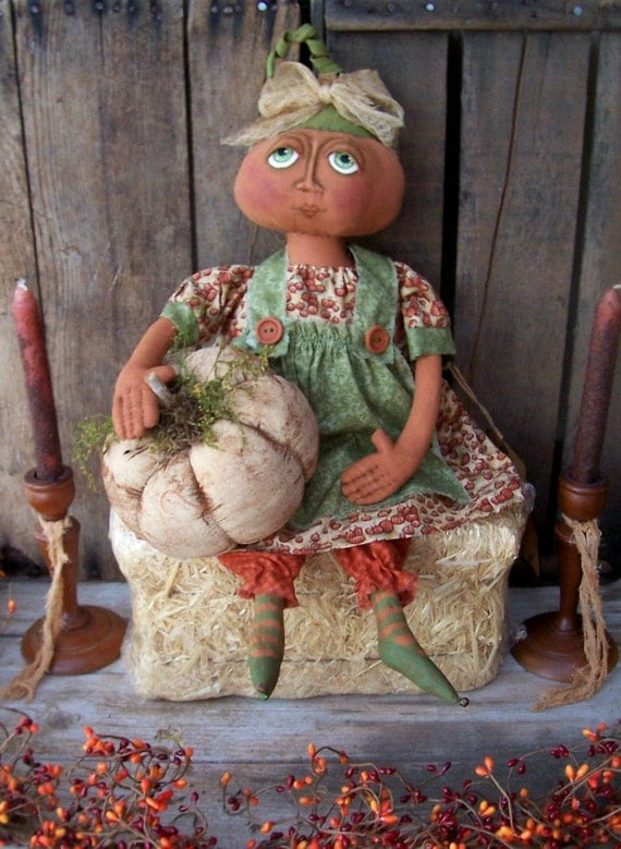 Primitive Folk Art Fall Harvest Pumpkin By