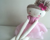 Ballerina rag doll - plush toy cloth doll ballerina in pink tutu
