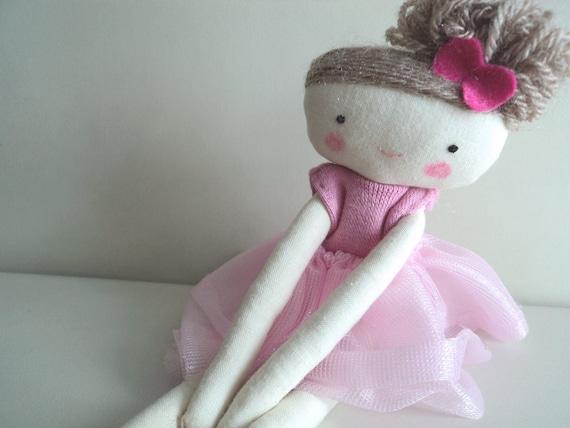 Ballerina rag doll - plush toy cloth doll ballerina in pink tutu