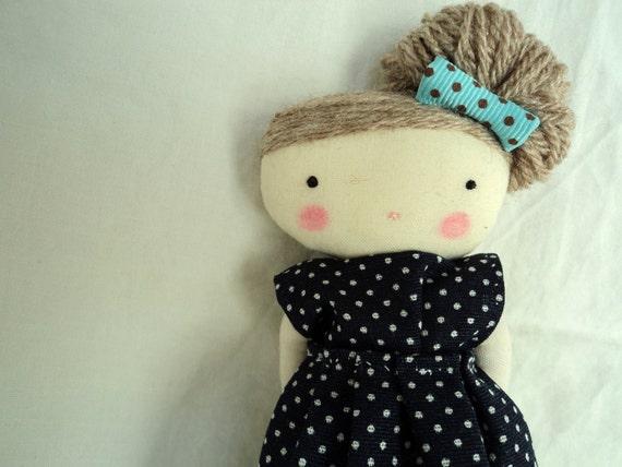 Bella, sweet doll blue polka dots