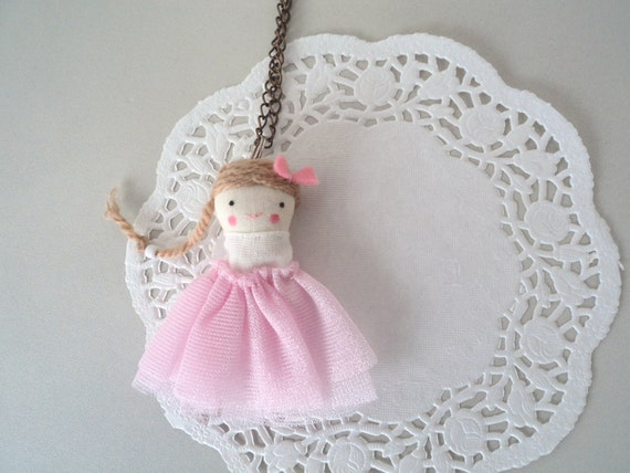 lady ballerina necklace - little rag doll charm dancer pink tutu