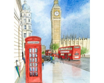 Art Print, London Painting, Big Ben, Red London Bus, Red Telephone Box, Watercolour Painting, Limited Edition Print