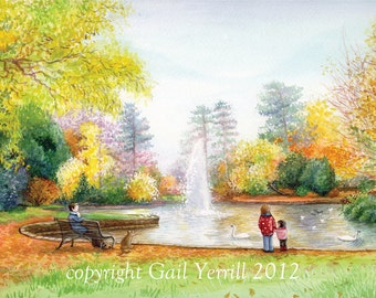 Art Print, 'A moment in Bedford park', watercolour painting, landscape, greens, oranges, lilacs, autumn, painting, 16x12 ready to frame