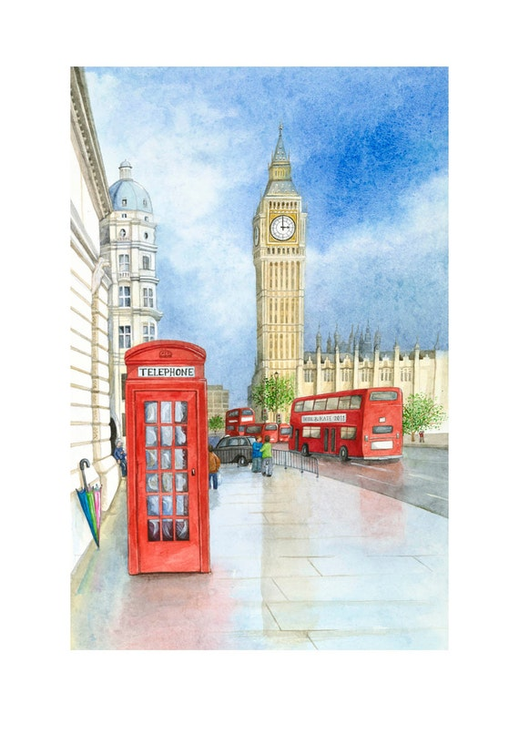 """Art Print 'Big Ben after the rain', London painting, telephone box, red bus, watercolour painting 12"""" x 10"""""""