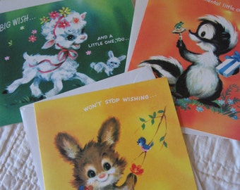 Absolutely Adorable Set of Three Childrens Get Well Greeting Cards with Animals