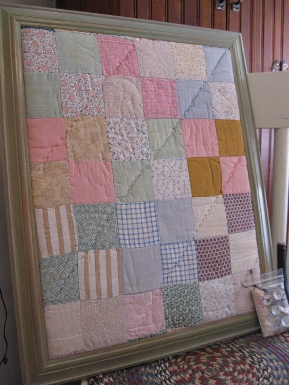 Vintage Style Patchwork Quilted Bulletin Board 16 x 20