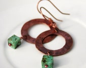 Copper and Turquoise Hoop Earrings