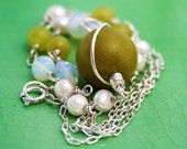 Jade, moonstone and sterling silver necklace