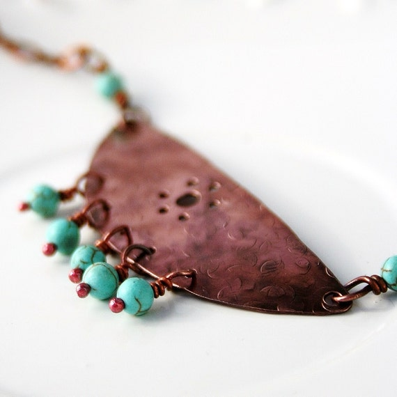 Tribal copper necklace with turquoise