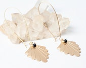 Gold Fan Earrings with Black Cube Beads