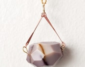 You Choose Color - Quartz with Copper Bars Necklace on Gold Plated Curb Chain
