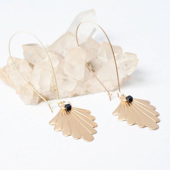 Gold Fan Earrings with Black Cube Beads