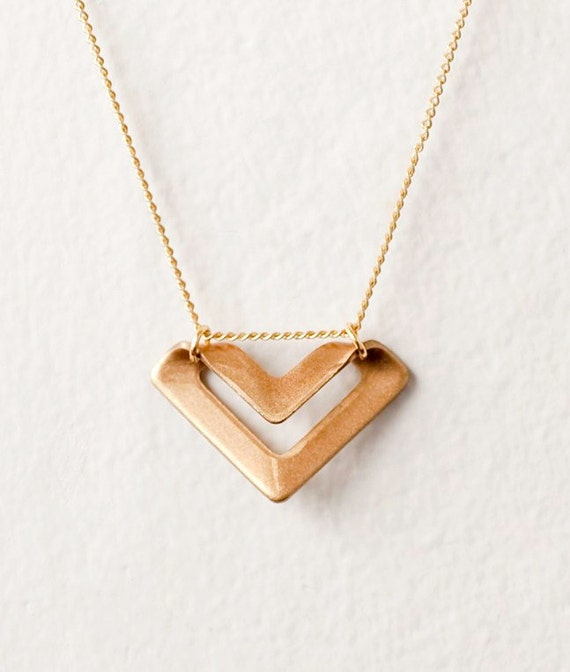 Brass Chevron Charm Necklace - LAST ONE