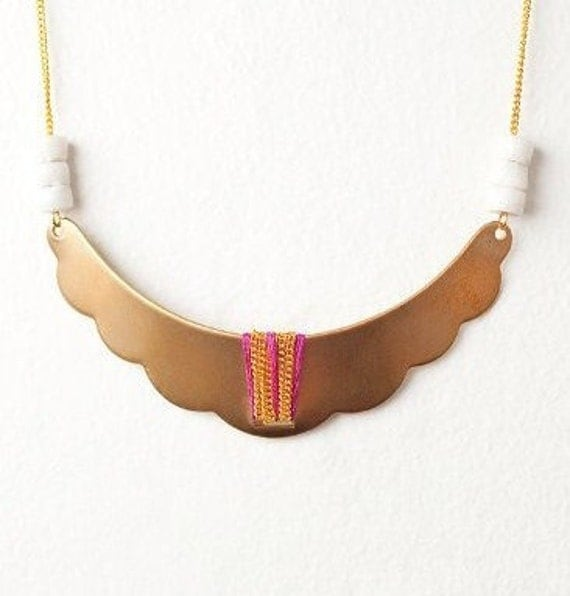 Gold Tribal Inspired Shield Necklace/Bib with White African Trade Beads on a 14kt Gold Filled Cable Chain - LAST ONE