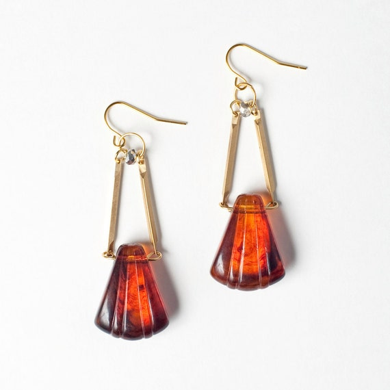 SALE - Vintage Lucite Tortoise Shell Fluted Fan Briolette Earrings with Gold Bars and Clear Crystal Beads - Limited