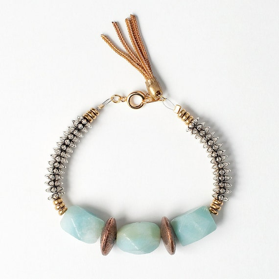 Amazonite Bracelet with Etched Raw Brass Lentil Bead, Silver Spacers, and Heishi Disc Beads Finished with a Gold Vintage Tassel