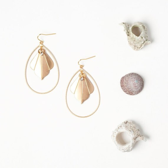 Golden Fan Drop Earrings with Crystal Accent - LAST SET