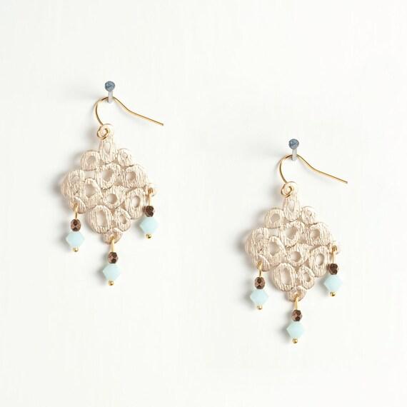 New - Light Blue and Copper Crystal Modern Chandelier Earrings