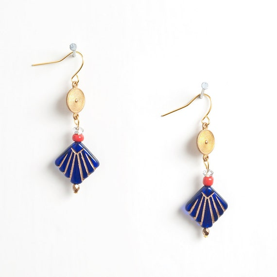 Blue Fan Earrings with Red Seed Beads and Clear Crystals - LAST SET