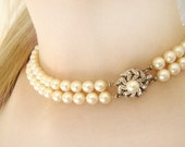 Vintage Two Strand Pearl Chocker With Gold and Diamond Lock