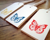 Butterfly gift tags Red Yellow Blue. x 30 - ChilliPeppa