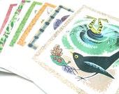Note cards,  vintage children's illustrations. Garden series. x 6 with envelopes