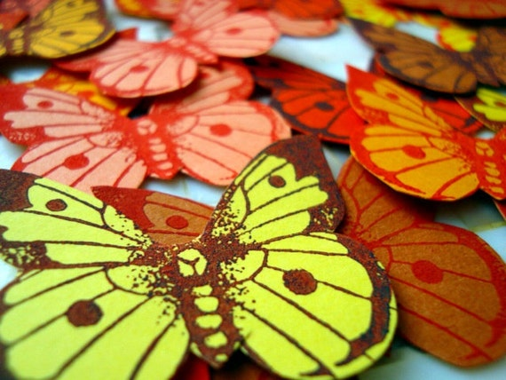 hand stamped, hand cut paper butterflies  x 32..................... number 6