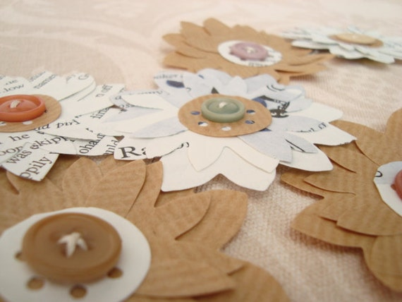 Paper flowers with vintage buttons, made from unloved book. x 6