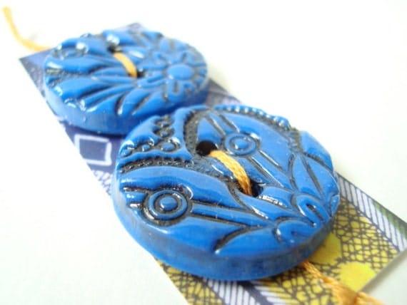 Blue handmade buttons