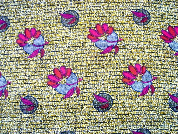 Hot Pink flowers African wax print batik fabric BY THE YARD 100% cotton.