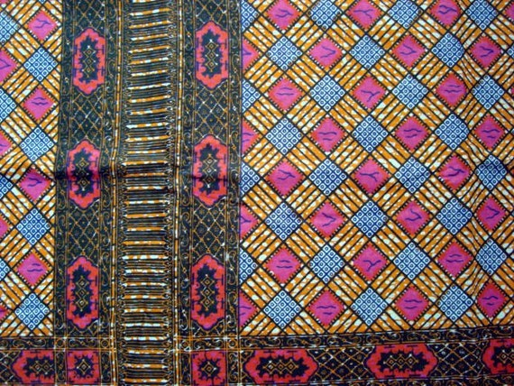 Pink and orange African wax print batik fabric PAIR OF PANELS 100% cotton