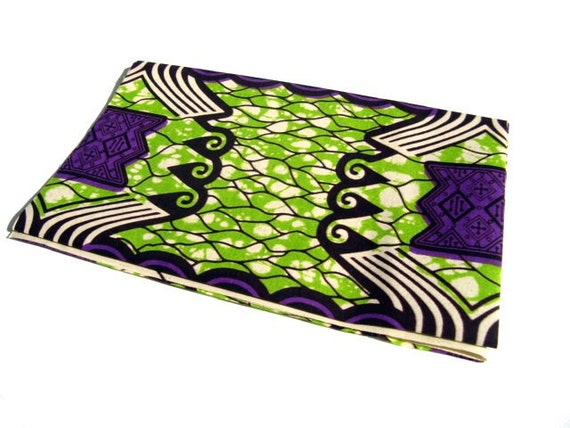 African wax print fat quarter 100% cotton (Green and purple)